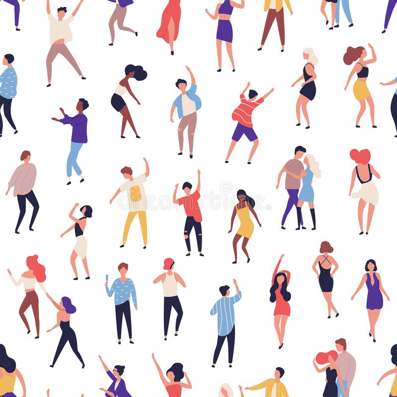 Seamless pattern with tiny people dancing on dance floor at night club on white background. Backdrop with happy of men vector illustration