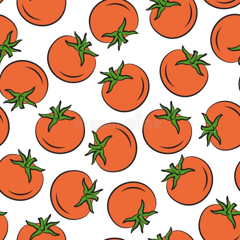 Seamless pattern tomatoes stock illustration