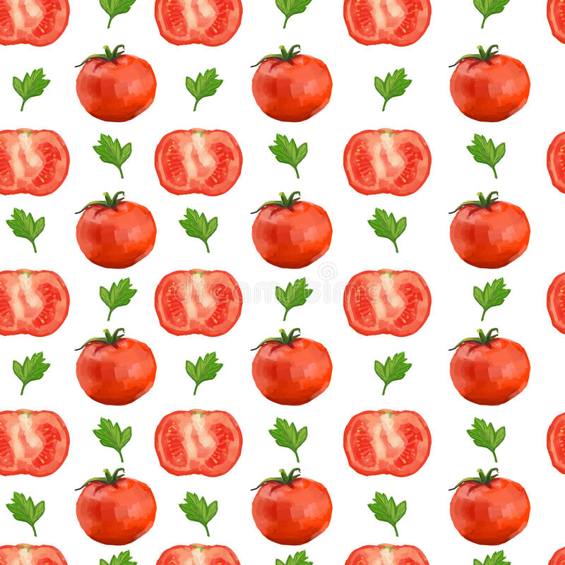 Seamless pattern with tomatoes and parsley stock illustration