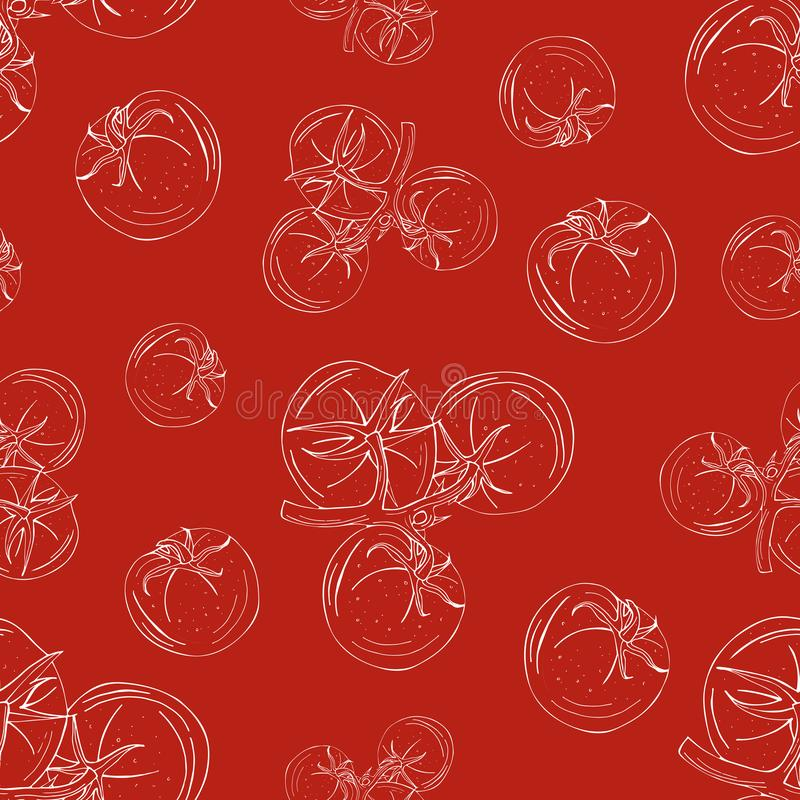 Seamless pattern of tomatoes white outline on a red background stock illustration