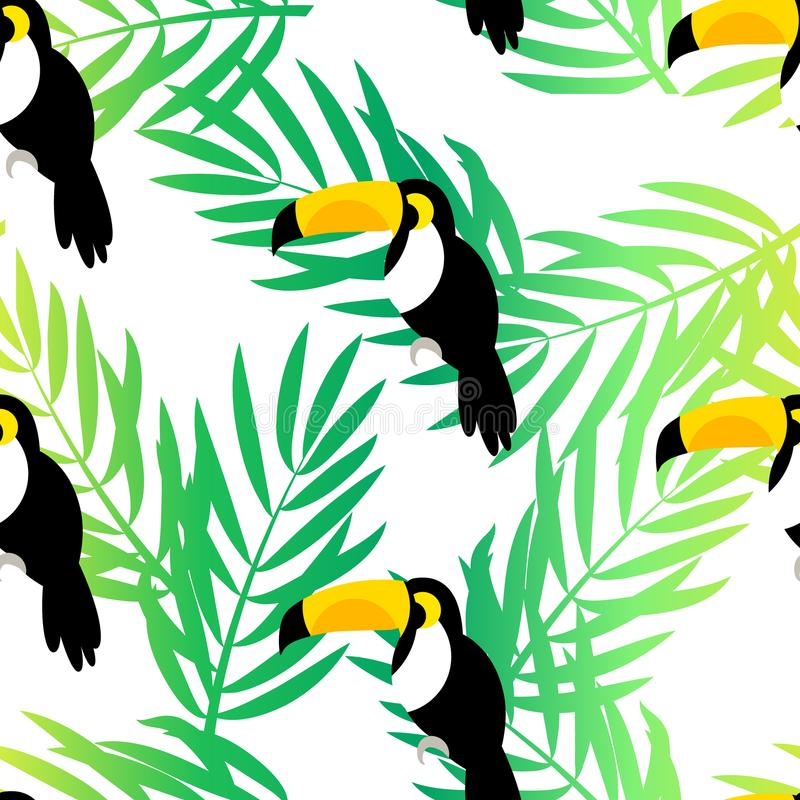 Seamless pattern with toucan and palm branches on white background. Vector summer background royalty free illustration