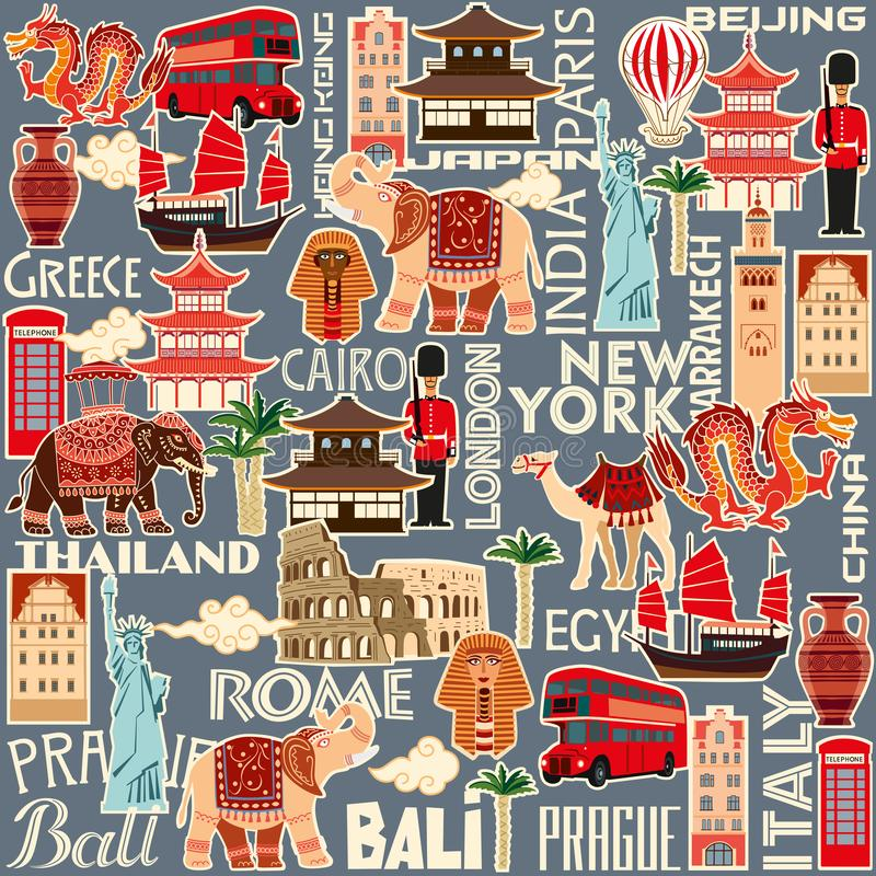 Seamless pattern of tourist attractions and objects of different countries stock illustration
