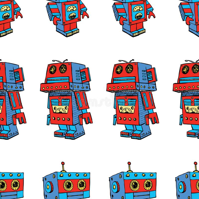 Seamless pattern of toy robots vector illustration