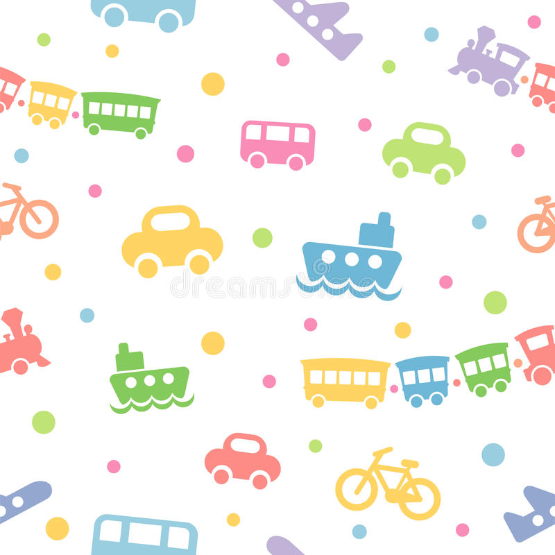 Free Seamless Pattern Toy-transport Royalty Free Stock Photos - 9551598