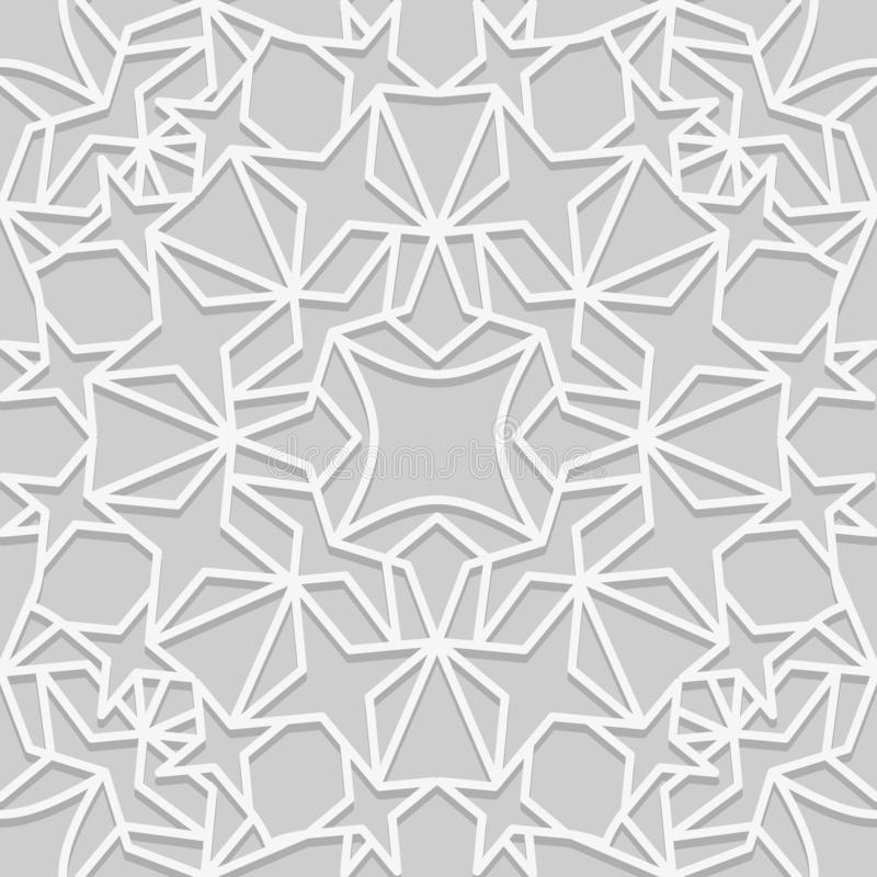 Seamless pattern in traditional arabian style. Geometric muslim ornament backdrop. White on gray color palette vector illustration