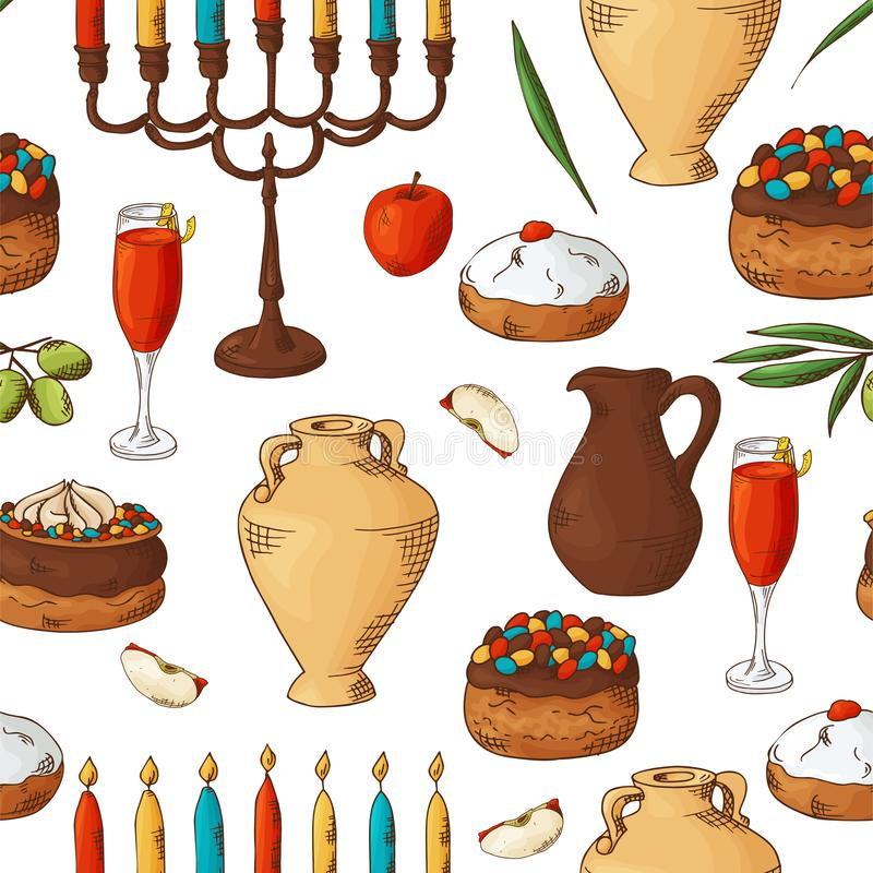 Seamless pattern with traditional hand drawn elements. Happy Hanukkah sketch objects. Vector illustartion vector illustration