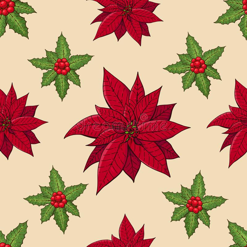 Seamless pattern with traditional homeplant poinsettia and holly plant. Endless texture with flower used indoor. Vector color stock illustration