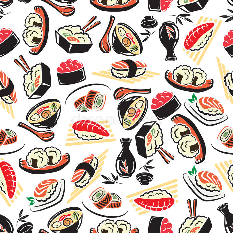Seamless pattern of traditional japanese cuisine stock for Authentic japanese cuisine