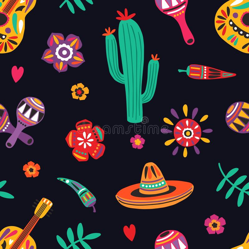 Seamless pattern with traditional Mexican symbols on black background - sombrero, guitar, cactus, maracas, chili pepper royalty free illustration