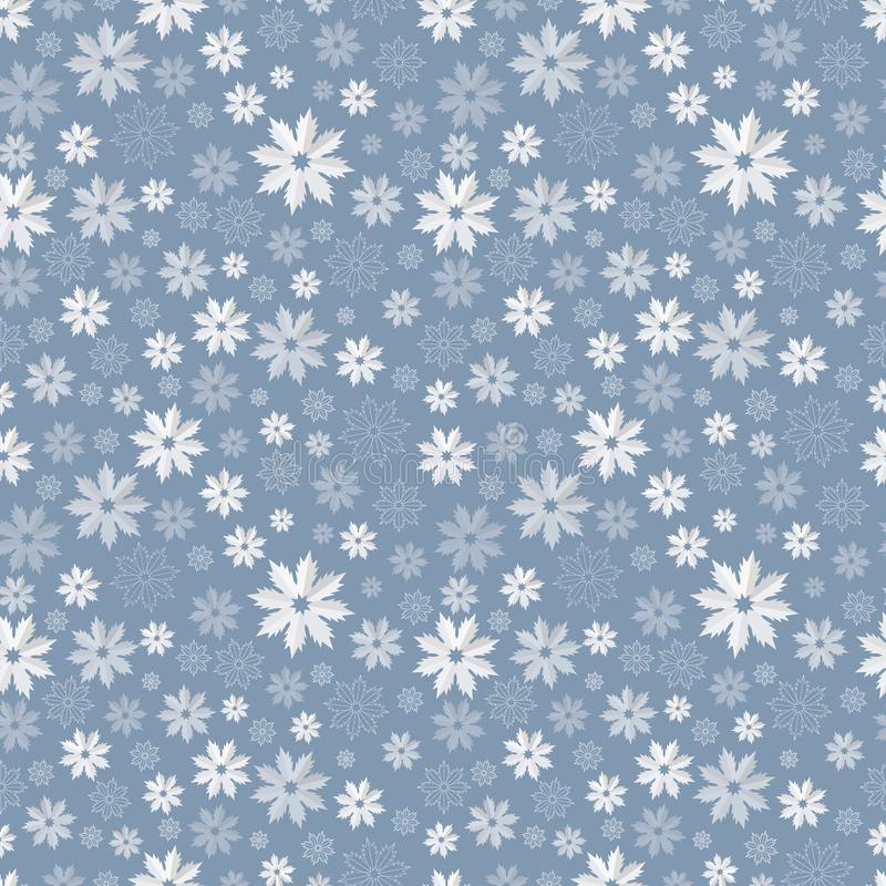 Seamless pattern with translucent snowflakes on a blue-gray background. Vector illustration royalty free illustration