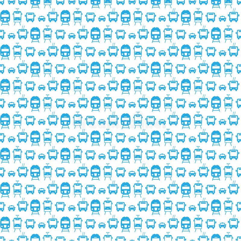 Seamless pattern with transport icons:car, tram, trolleybus, train. stock illustration