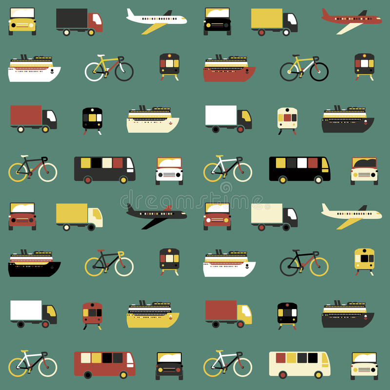 Seamless pattern with transport icons. vector illustration