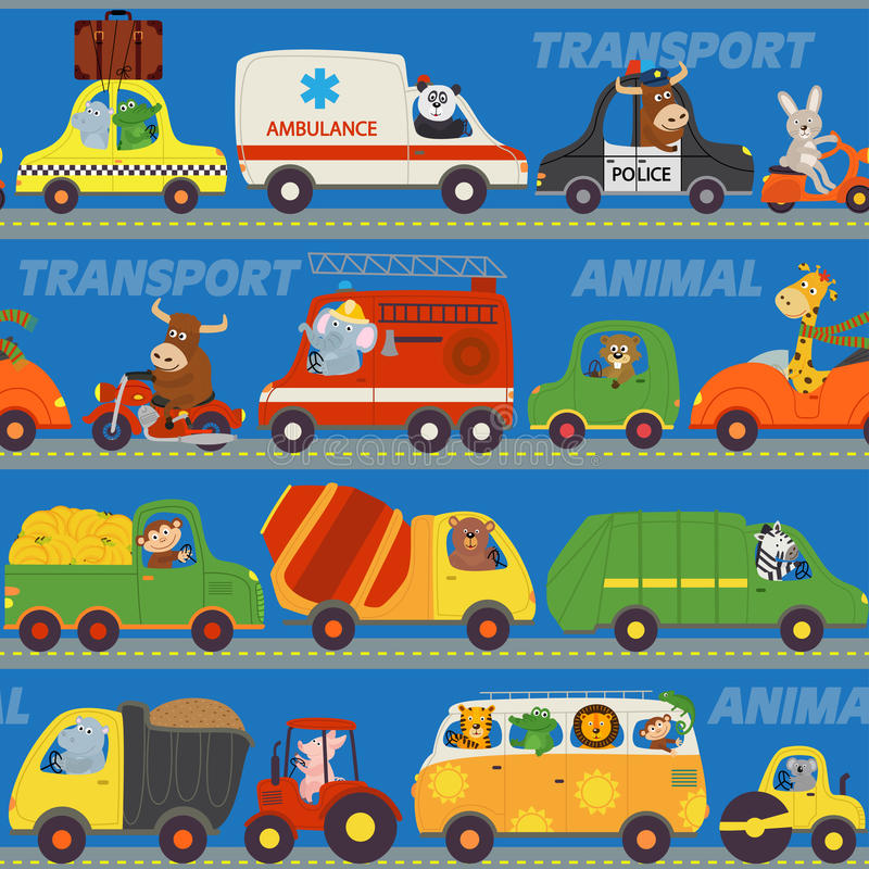 Seamless pattern transports with animals on road. Vector illustration, eps stock illustration