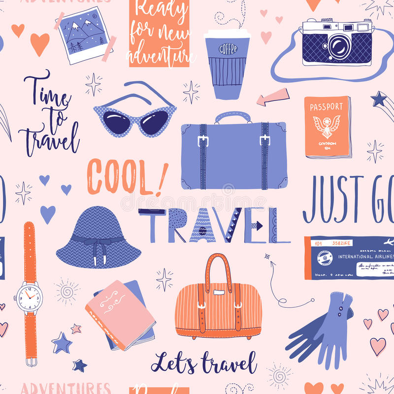 Seamless pattern about travel, vacation, adventure. royalty free illustration