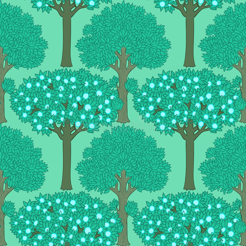 Seamless pattern with trees stock illustration