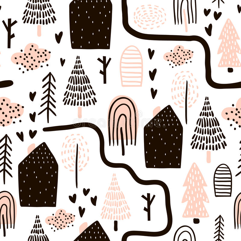Seamless pattern with trees, houses. Forest background. Childish texture for fabric, textile.Vector Illustration royalty free illustration