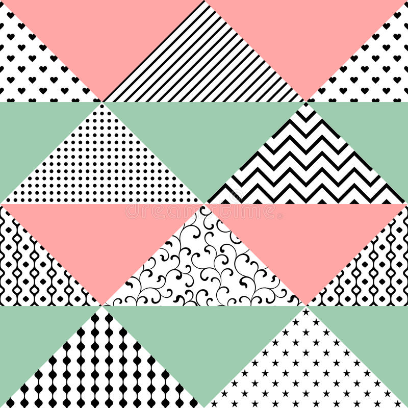 Seamless pattern of triangles with different textures. The pattern can be used for printing on textiles, wallpaper, packaging vector illustration