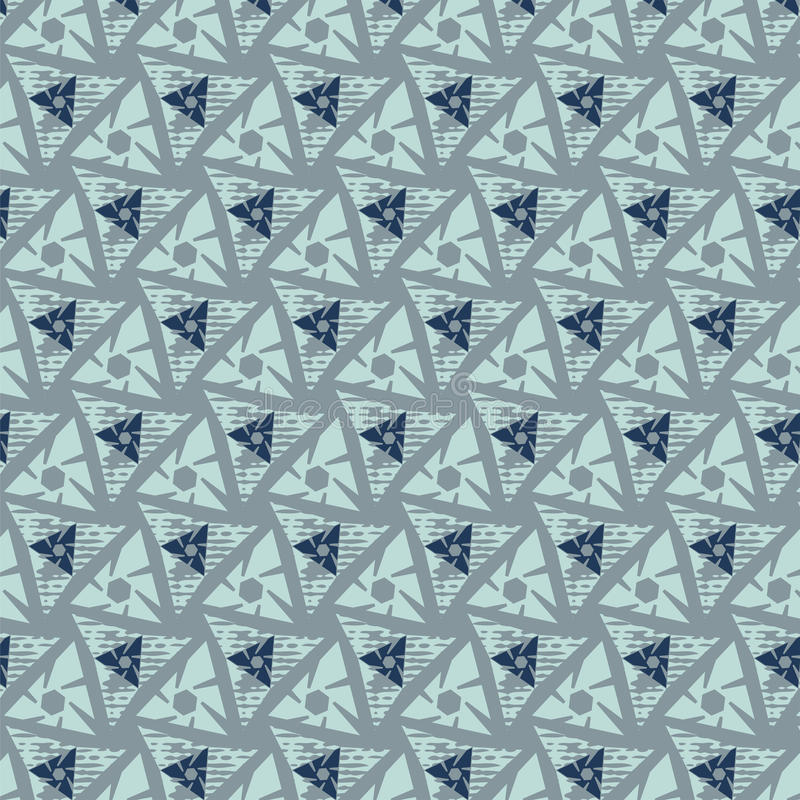 Seamless pattern. Triangles shapes with grunge. May be useful for print, fabric, wrapping, packing, tapestry, curtain, textile, craftsmanship, scrap-booking royalty free illustration