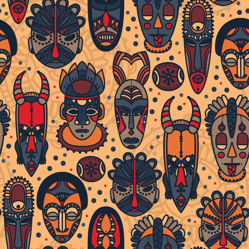 Seamless pattern with tribal african masks royalty free illustration