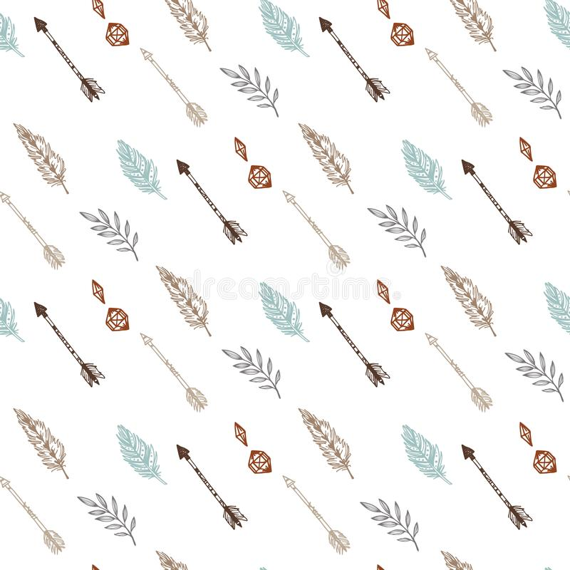 Seamless pattern with tribal arrows, feathers and spring branches. Hand drawn vector illustration. Boho background. Perfect for f royalty free illustration