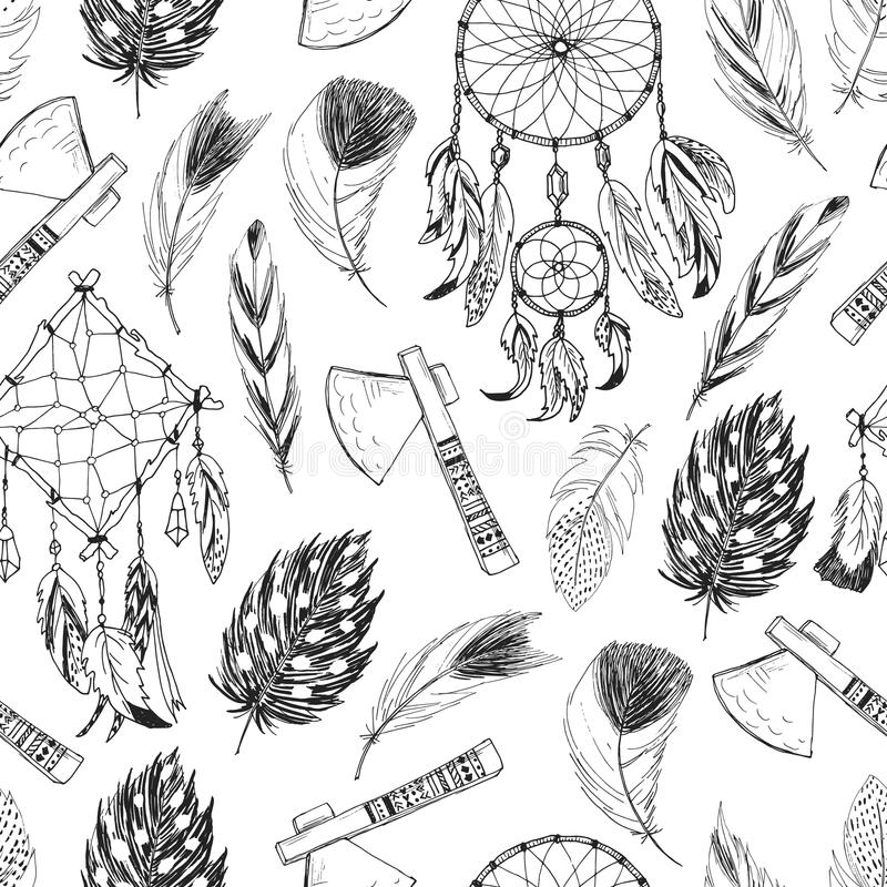 Seamless pattern with tribal, indian elements vector illustration