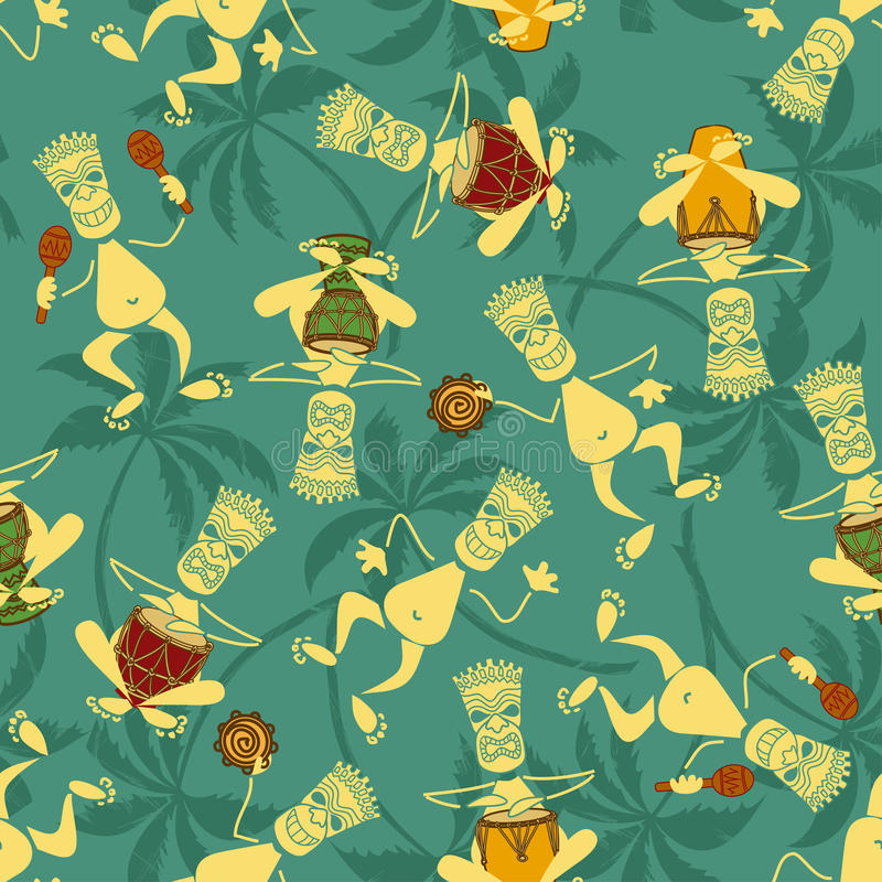 Seamless pattern of tribal musicians vector illustration