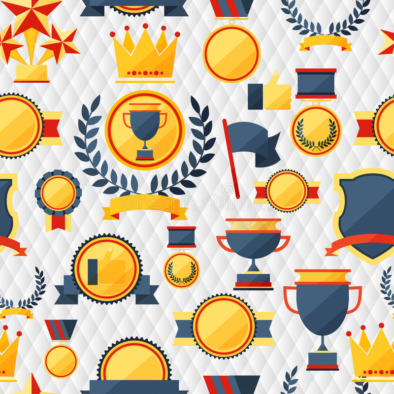 Seamless pattern with trophy and awards. royalty free illustration