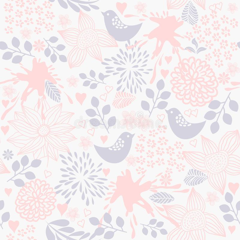 Seamless pattern with tropical birds, flowers,berries and leaves. Exotic flora and fauna. Vintage hand drawn vector illustration stock illustration