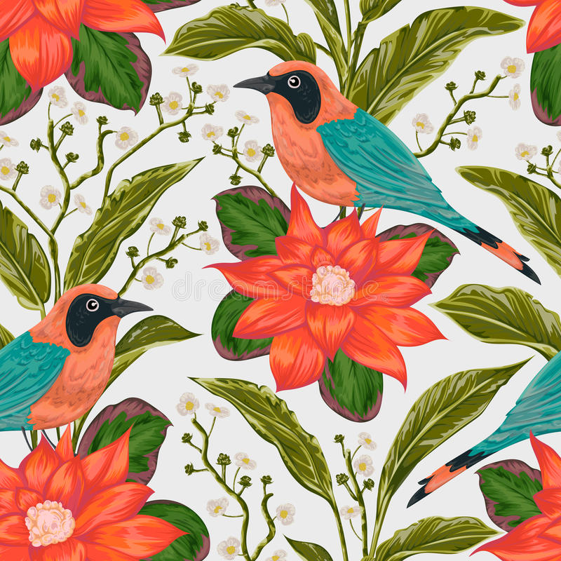 Seamless pattern with tropical birds, flowers and leaves. Exotic flora and fauna. vector illustration