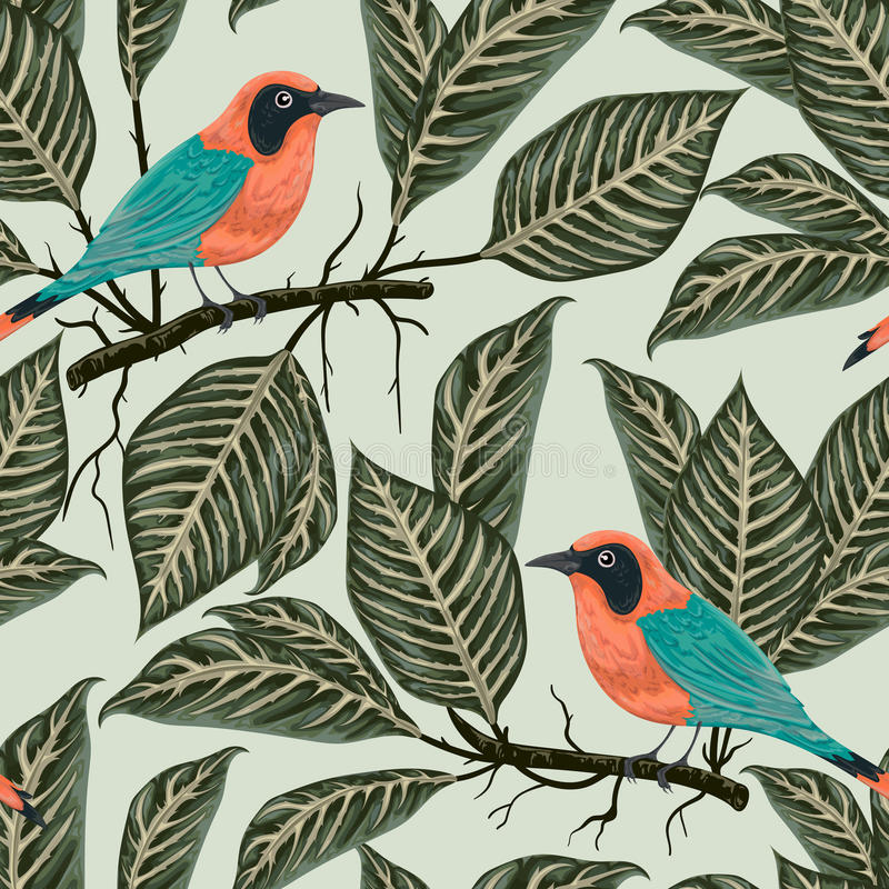 Seamless pattern with tropical birds and plants. Exotic flora and fauna. Vintage hand drawn vector illustration in watercolor style royalty free illustration
