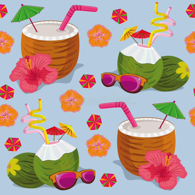 Free Seamless Pattern. Tropical Cocktails On A Blue Background. Stock Images - 86033164
