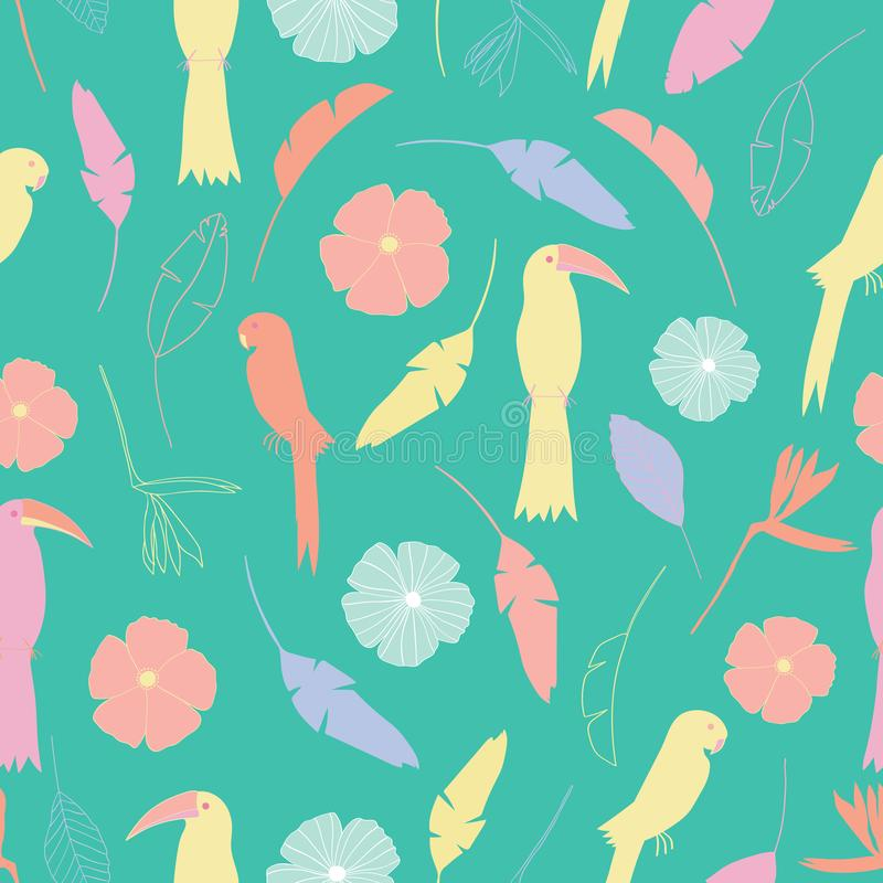 Seamless pattern with tropical colorful birds and flowers in yellow, orange, purple, white, pink with a green color backgro. Und. Surface pattern design stock illustration