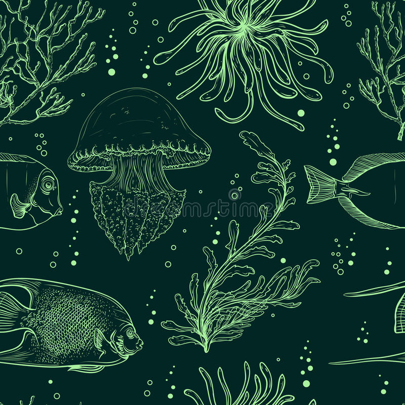 Seamless pattern with tropical fish, jellyfish, marine plants and seaweed. Vintage hand drawn vector illustration marine life. vector illustration