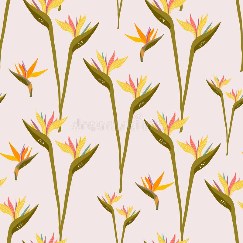 Seamless pattern with tropical flowers. Creative floral texture. Great for fabric, textile Vector Illustration royalty free illustration