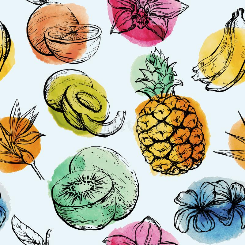Seamless pattern with Tropical flowersand fruits stock illustration