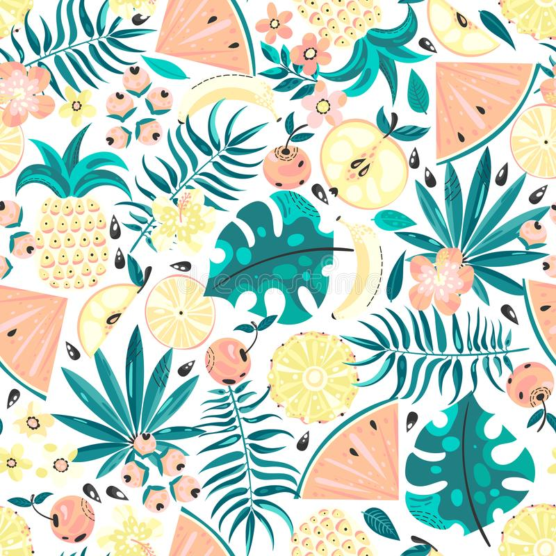 Seamless pattern with fruits and flowers vector illustration
