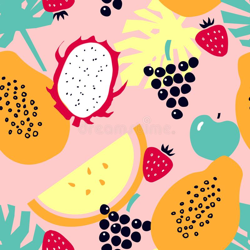 Seamless pattern with tropical fruits - melon; dragon fruit; papaya; strawberry; apple; grapes. vector illustration