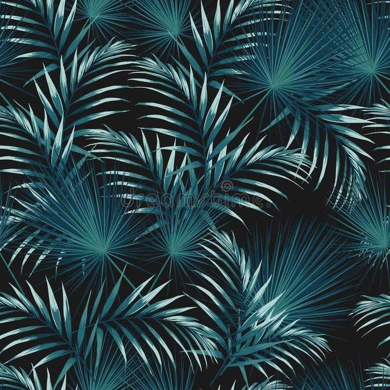 Seamless pattern with tropical leaves. Bright green palm leaves on the black background. Vector seamless pattern. Tropical illustration. Jungle foliage vector illustration