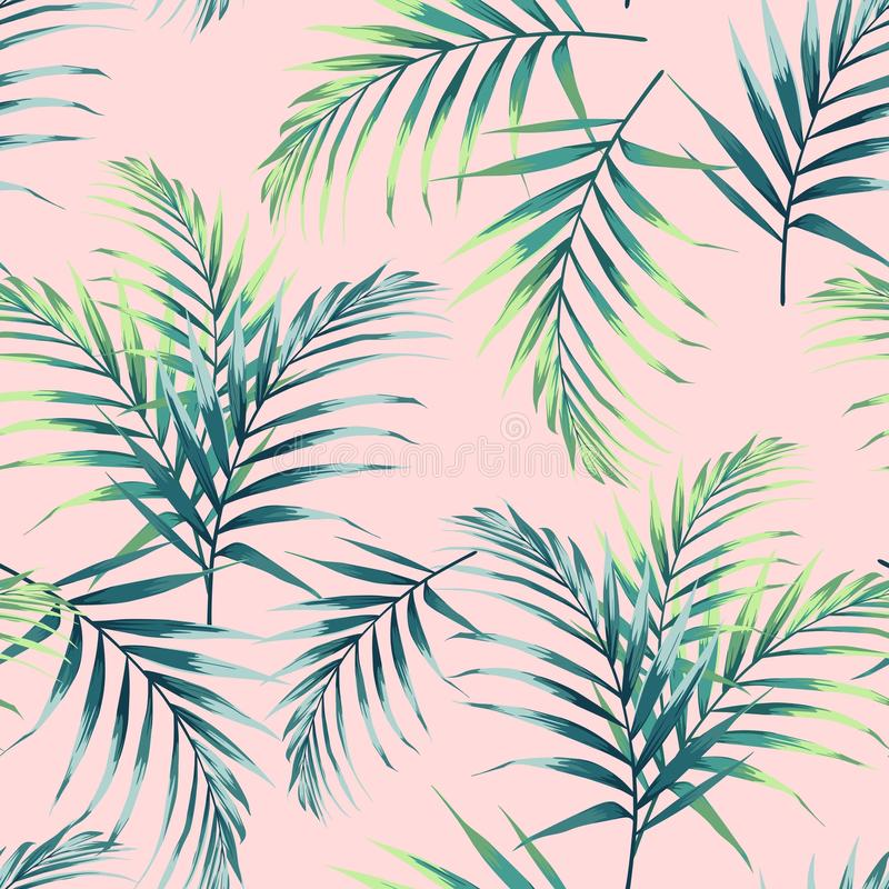 Seamless pattern with tropical leaves. Dark and bright green palm leaves on the light pink background. vector illustration