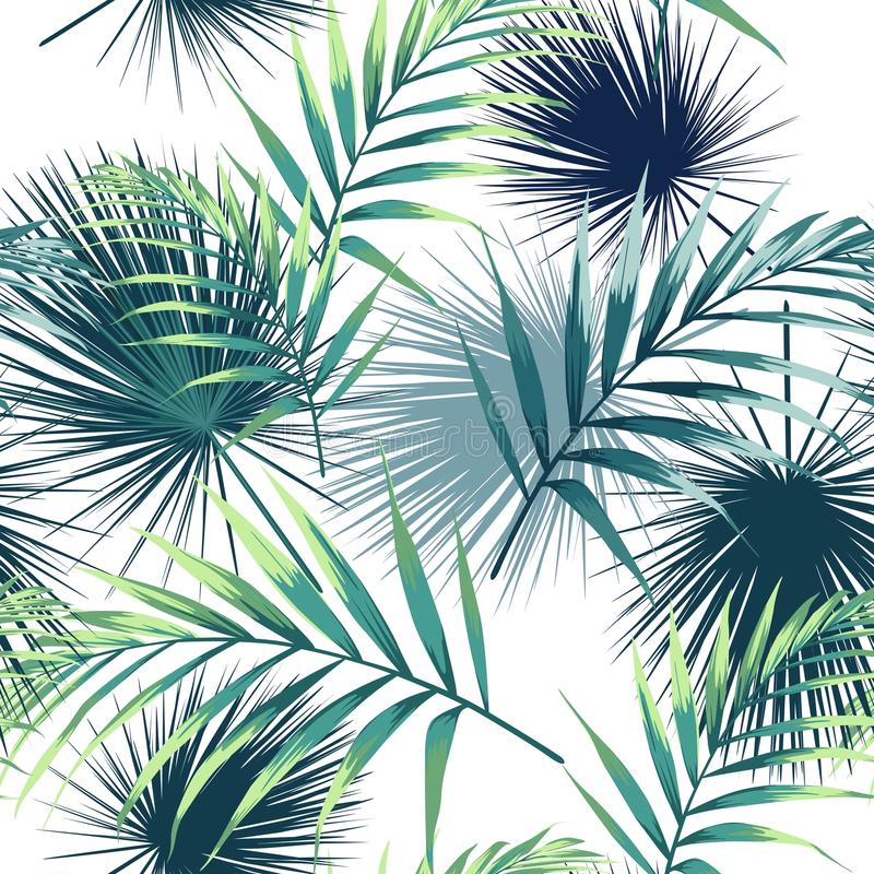 Seamless pattern with tropical leaves. Dark and bright green palm leaves on the white background. Vector seamless pattern. Tropical illustration. Jungle vector illustration
