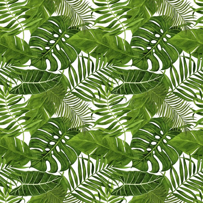 Seamless pattern with tropical leaves for fabric, wallpaper, wrapping paper, etc. Tropical leaves watercolor hand painted. Tropical leaves watercolor hand royalty free illustration
