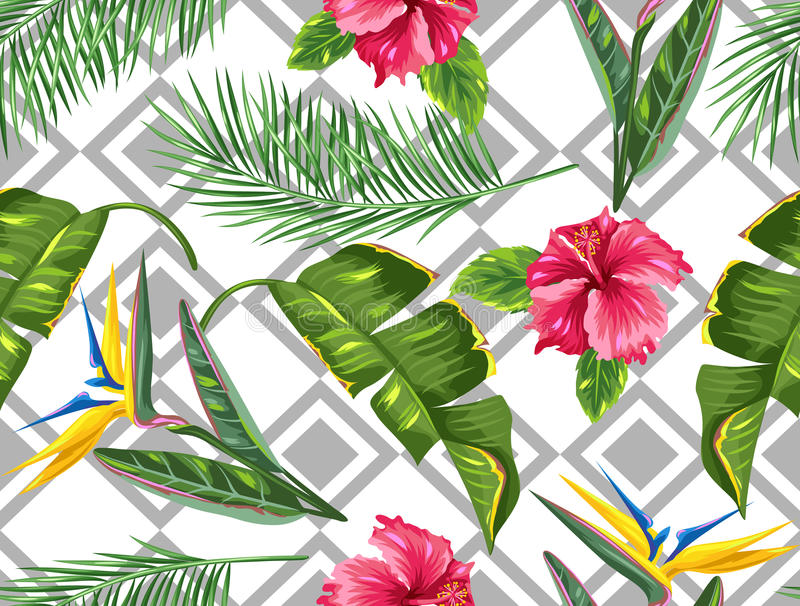 Seamless pattern with tropical leaves and flowers. Palms branches, bird of paradise flower, hibiscus vector illustration