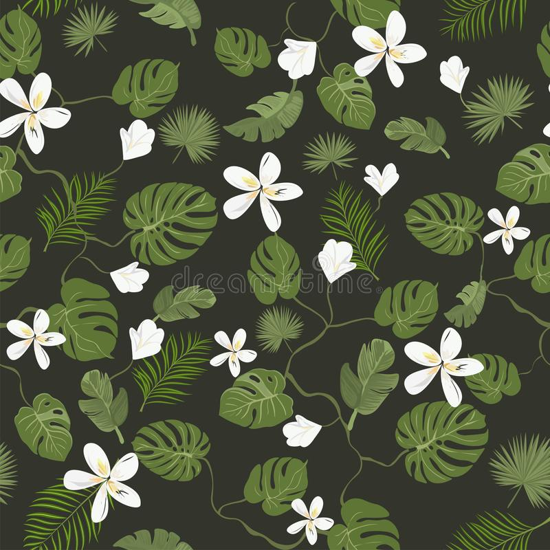 Stylish seamless pattern, tropical leaves and flowers on dark background. Summer banner, postcard. Seamless pattern. Tropical leaves and flowers. Summer template stock illustration