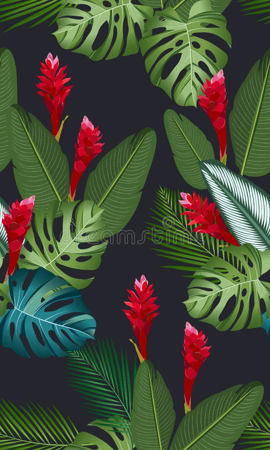 Seamless pattern tropical leaves with ginger flower. On black background vector illustration