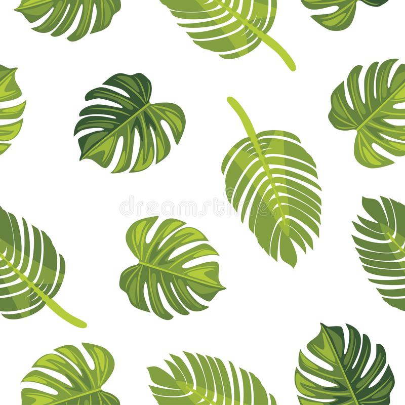 Seamless pattern with tropical leaves stock photography