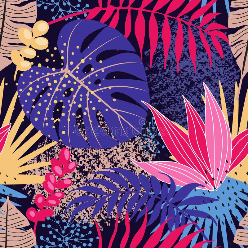 Seamless Pattern with Tropical Leaves and Textures stock illustration