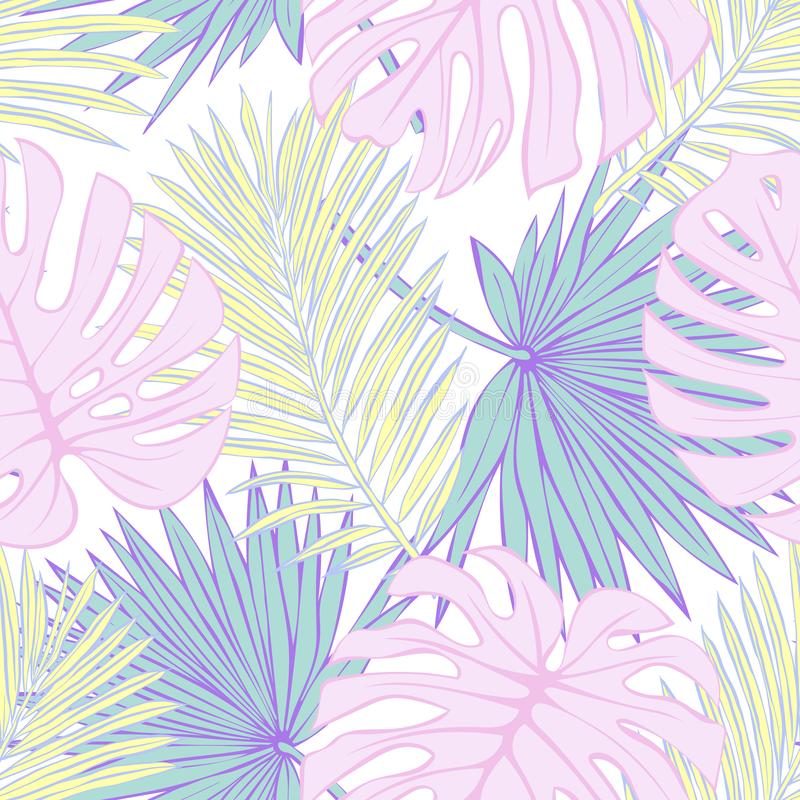 Seamless pattern of tropical leaves. Vector seamless pattern. Tropical illustration. Jungle foliage. vector illustration