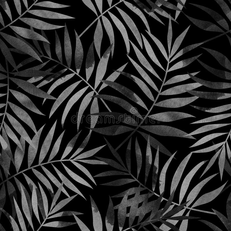 Seamless pattern with tropical palm leaves on black background. Stylish illustration royalty free illustration