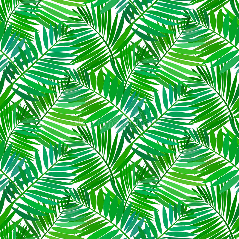 Seamless pattern with tropical palm leaves stock illustration