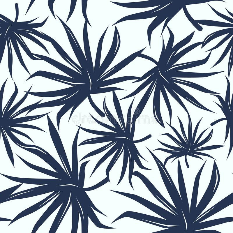 Download Seamless Pattern With Tropical Palm Tree Leaves Stock Vector